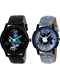 The Shopoholic Combo Latest Fashionable Blue And Black Mahadev Dial Analog Watch For Boys -Combo Watch Golden
