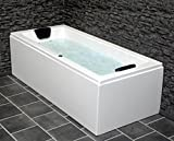 Whirlpool Badewanne Venedig MADE IN GERMANY rechts oder links 180 x 80 / 190 x 90 oder 200 x 90 cm mit 6 Massage Düsen + OHNE Armaturen Eckwanne Jakuzzi Spa runde rechte / linke Eckbadewanne innen günstig