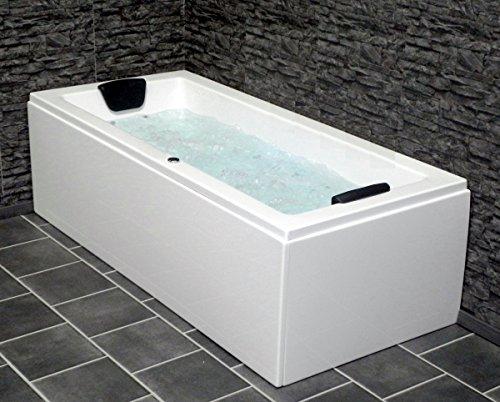 Whirlpool Badewanne Venedig MADE IN GERMANY rechts oder links 180 x 80 / 190 x 90 oder 200 x 90 cm mit 6 Massage Düsen + OHNE Armaturen runde rechte / linke Eckbadewanne
