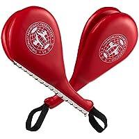 Pack de 2–Espinilleras para Taekwondo patada doble Kick resistente huelga almohadillas para kickboxing deportes de lucha Karate patada meta, rojo 15x 2,5x 7,5cm