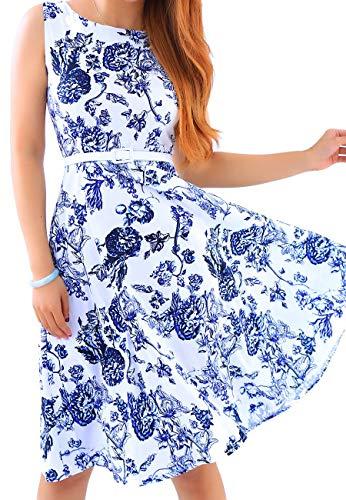 OMZIN Frauen Rundhals Sleeveless Sommer Casual Flared A-Linie Dres Blau XXL -