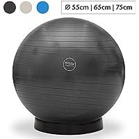 aktivshop Gymnastikball inkl. Ballschale Fitnessball Sitzball Fitness Ball Yogaball Sportball Anti-Burst Gymnastikball Büroball 55 cm 65 cm 75 cm