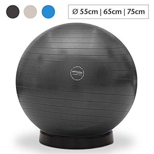 aktivshop Gymnastikball inkl. Ballschale Fitnessball Sitzball Fitness Ball Yogaball Sportball Anti-Burst Gymnastikball Büroball 65 cm Schwarz
