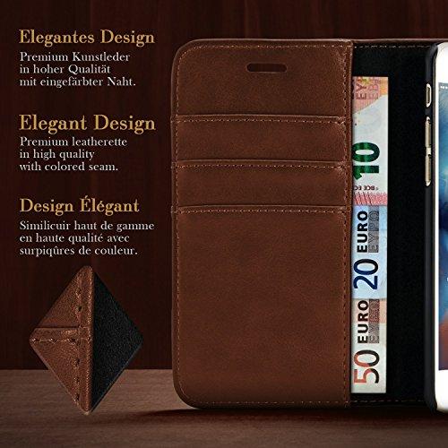 iPhone 7 / 8 Hülle Dunkel-Blau mit Karten-Fach [OneFlow Book Klapp-Hülle] Etui Schutzhülle Handytasche Kunst-Leder Handyhülle für iPhone 7 / 8 Case Flip Cover Tasche Sienna