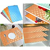 Khushi Creation Refrigerator Mats/Fridge Mats/ Multi Purpose Mats/Drawer Mats/Place Mats Set Of 6 Pcs (Multi) Coin Design (FRDM28)