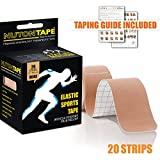 #8: NUTONTAPE™ Kinesiology Sports Tape for Muscle Support, Pain Reduction & Injury Recovery - KNEE, BACK, SHOULDER and more | Breathable, Water Resistant & Superior Adhesive | 20 Strips 10 inch Precut (BEIGE) | 5m x 5cm - (Taping Guide Included)