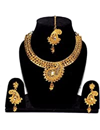 Jewels Kafe 18K Gold Plated Necklace Set With Earrings & Maang Tikka For Women