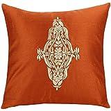 Damask funda para cojín bordado, diseño de patrón de Damasco de cojín (por la pétalos de color blanco, óxido, 60x60 cms