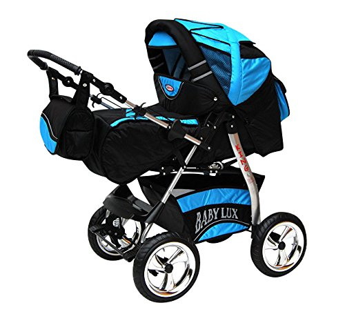 Kinderwagen King Cosmic Black & Aqua mit Winterfußsack Fleece