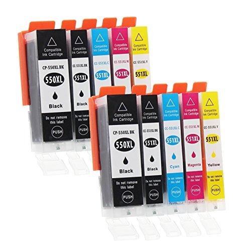 Canon Ersatz-farbe-tinte (10 Druckerpatronen mit Chip und Füllstandsanzeige kompatibel zu Canon PGI-550 / CLI-551 (2x Schwarz breit, 2x Schwarz schmal, 2x Cyan, 2x Magenta, 2x Gelb) passend für Canon Pixma IP-7200 IP-7250 IP-8700 IP-8750 IX-6800 IX-6850 MG-5400 MG-5450 MG-5550 MG-5600 MG-5650 MG-5655 MG-6300 MG-6350 MG-6400 MG-6450 MG-6600 MG-6650 MG-7100 MG-7150 MG-7500 MG-7550 MX-720 MX-725 MX-920 MX-925)