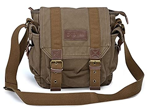 Gootium 21217AMG Vintage Canvas Messenger Bag Small Shoulder Bag,Army Green