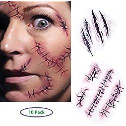 Tatuajes Temporales (10 hojas) - Halloween Zombie Cicatrices Tatuajes Pegatinas con Falso Scab Sangre Especial Fx Costume Maquillaje Props