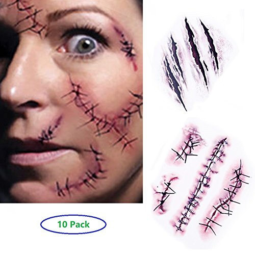 10 Blatt) - Halloween Zombie Scars Tattoos Aufkleber mit gefälschten Scab Blut Spezial Fx Kostüm Makeup Stützen (Panda-make-up Für Halloween)