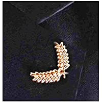 gold plated Lapel Pin Badge / tie pin,or buy two for collar tips, in gift boxleaves, leaf pin