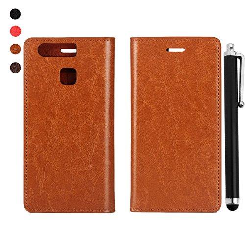 bdeals handyhülle Huawei P9 hülle - Premium Genuine Leder Flip Case Ledertasche für Huawei P9 Tasche Braun