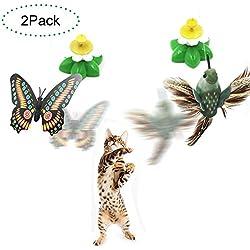 Funny Spinner interactivo gato juguete eléctrico giratorio mariposa gato mascota juguete pequeño pájaros girando wiggler gatito jugar juguete gato teaser juguetes paquete de 2 (color al azar)