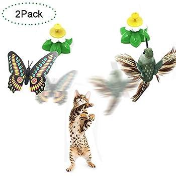 Jouet Chat,EarthSave 2-Pack Funny Spinner Jouets interactif Électrique Rotatif Papillon Oiseau pour Chat Chaton Kitten (Couleur Aléatoire)