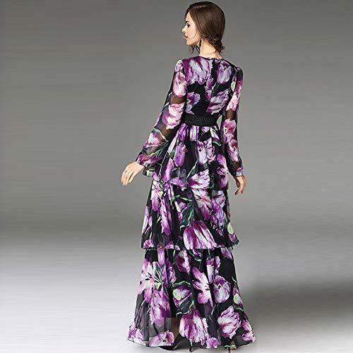 QUNLIANYI Abendkleid tüll lang Frauen-Weinlese-Blumendruck-Veilchen-Kleid-langes Kleid-Robe Femme volle Hülsen-Rüschen-Chiffon- Schicht-Kuchen-Partei-Kleid S (Weinlese-hochzeits-kuchen-dekoration)