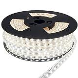 20m LED Strip Lichtband flexband Kaltweiß 230V mit 60x 5050 SMD pro Meter - weißer Hintergrund 230 Volt