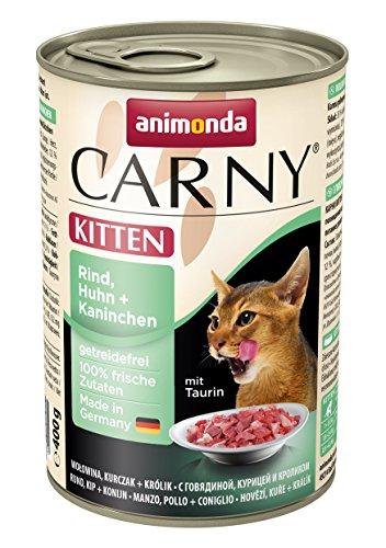animonda Carny Kitten Katzenfutter, Nassfutter für junge Katzen, aus Rind, Huhn + Kaninchen (6 x 400 g)