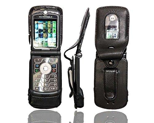caseroxx Handy-Tasche Ledertasche mit Gürtelclip für Motorola Razr V3 aus Echtleder, Handyhülle für Gürtel (mit Sichtfenster aus schmutzabweisender Klarsichtfolie in schwarz)