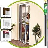 easy life Insektenschutz Tür greenLINE 100 x 215 cm in Weiß Fliegengitter mit ALU Rahmen für Türen Insektentür ohne Bohren individuell kürzbares Fliegennetz