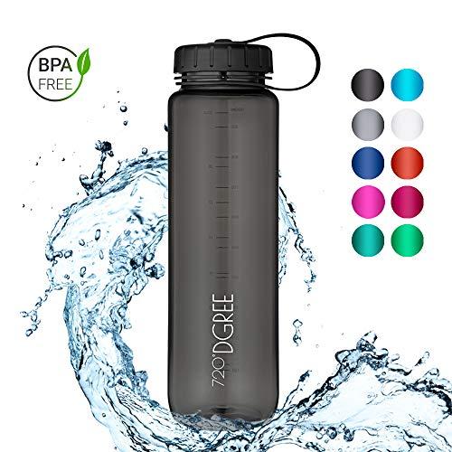 720°DGREE Trinkflasche simplBottle - 1000ml, 1L, Schwarz | Wasserflasche aus Tritan | Auslaufsichere Flasche mit Weithals für Sport, Schule, Gym, Outdoor | Perfekte Sportflasche - BPA Frei