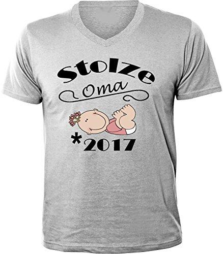 Mister Merchandise Herren Men V-Ausschnitt T-Shirt Stolze Oma - 2017 Tee Shirt Neck bedruckt Grau