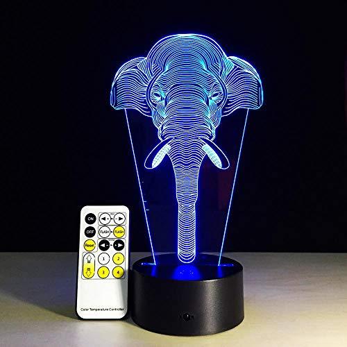 XXXCH Lucky Elephant 3D Illusion Kinder Schlafatmosphäre Lichter Bunte Led-Leuchten Babyspielzeug Geburtstagsgeschenke Touch-Fernbedienung