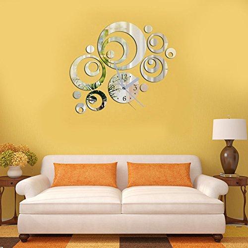 Demiawaking Modern Home Decor DIY 3D specchio adesivo rotondo quadrante artistico orologio da parete (nero/argento) Silver