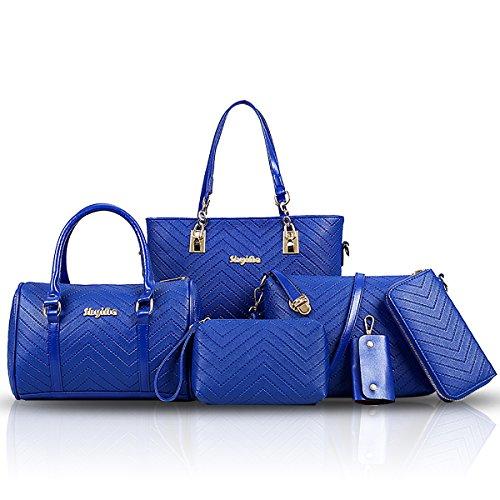 Tisdaini Damen-Beutel-Art- und Weisebeutel 6-teilige geprägte V-förmige Handtasche + Schulterbeutel + diagonale + Mappe