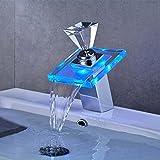 Auralum® LED RGB Mischbatterie Glas Diamantform Griff Waschtischarmatur Badezimmer Wasserfall Waschbecken armaturen