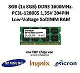 unimega® 8GB (1x 8GB) DDR3 1600MHz PC3L-12800S 204PIN 1,35V SoDIMM RAM Speicher Memory mit Premium-Chips von Samsung, Hynix oder Micron