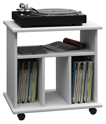 VCM LP Möbel Regal Schallplatten Phonomöbel Medienregal Schrank Stand Schallplattenspieler weiß 45 x 60 x 59 cm Retal