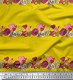 Soimoi Gelb Seide Stoff Blume Haufen, Text & Herz gedruckt