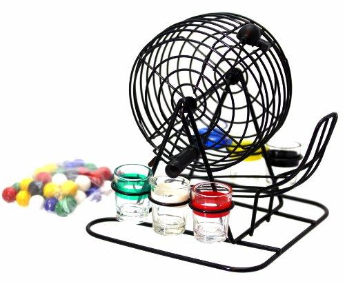 Bingo Lotto Trinkspiel Set bestehend aus 6 Schnapsgläsern, Mischtrommel usw. - Ideales Trinkspiel