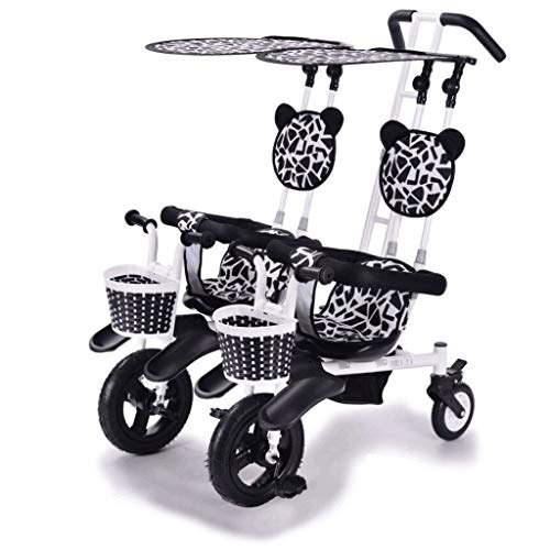 Sillas de Paseo Ligeras Cochecito Doble Triciclo Bicicleta de bebé Doble Bicicleta Cinco Modos Gratis...
