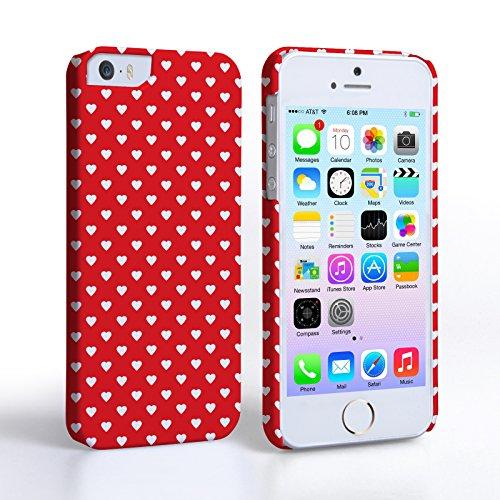 Caseflex iPhone 5 / 5S Hülle Rot / Weiß Nette Herzen Valentinstag Hart Hybride Schutzhülle (I Für 5 Nette Mädchen Phone Fälle)