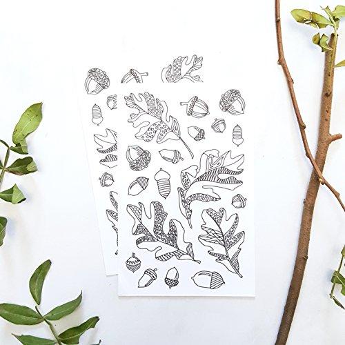 en für Erwachsene mit Herbst Blättern und Eichel Illustration, 2 Blätter (Herbst-kunst-projekte)