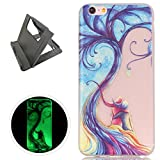 iPhone 6/6S Plus Case, Keyye Gel TPU Silicone Cover [Free Black Kickstand] Anti-dust Soft Scrub Transparent Fluorescent Green Luminous Printing Effect Protective Skin-Fantasy Couple Tree