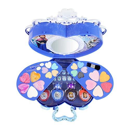 Dough.Q 39 Stücke Disney Ice Princess Make-Up Fall Spielzeug Set Mini Tragbare Spielhaus Kosmetik Spielzeug Mit Lidschatten Lipgloss Blush Pinsel Selbstklebender Nagel Nagellack Für Kinder Mädchen
