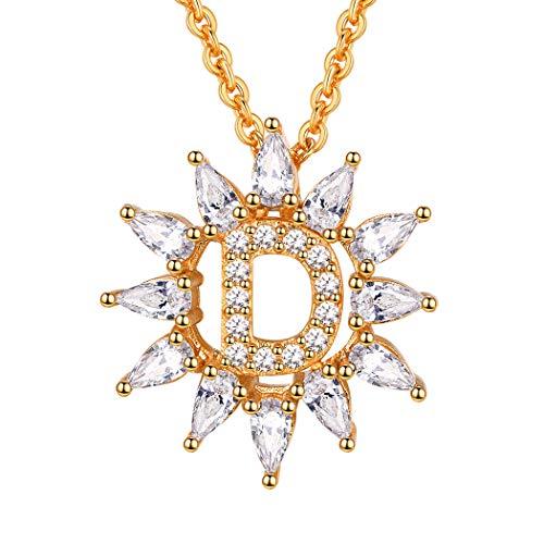 Suplight Collier für Damen Mädchen Buchstabe D Anhänger Halskette 18k vergoldet 51cm Rolokette Zirkonia Dekoriert Alphabet Name Initiale Modeschmuck Geschenk für...