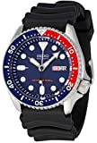 Seiko skx009k 1-5 Diver's Sports Men's Automatic Watch Analogue Dial Black Rubber Strap Blue Display