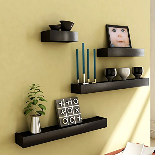 Black Wooden Wall Shelf Set Of Four/ Display Rack Shelf
