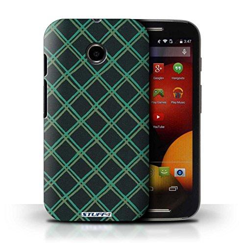 Kobalt® Imprimé Etui / Coque pour Motorola Moto E (2014) / Jaune conception / Série Motif Entrecroisé Vert/Noir