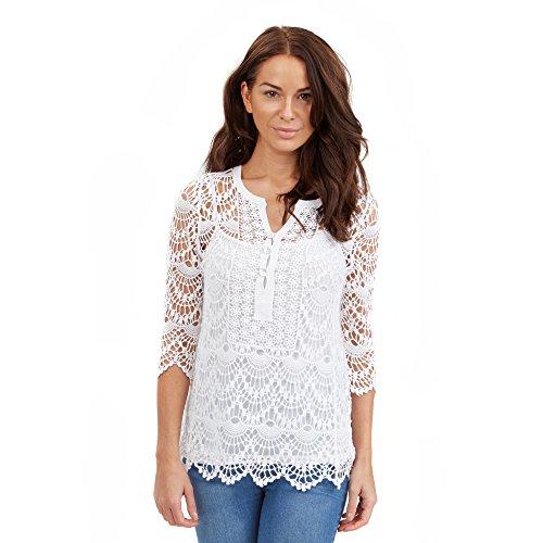 Joe Browns Crochet 2 Piece Tunic-Top Donna    bianco White (A-White) 18