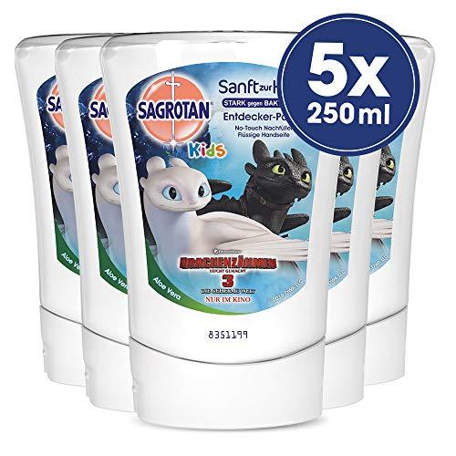 Sagrotan No-Touch Kids Nachfüller Entdeckerpower Aloe Vera, 5er Pack (5 x 250 ml) -