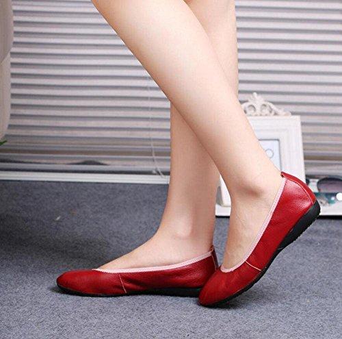GLTER Donne Ripiegare Ballerine Scarpe scarpe traspiranti Rotolo Scarpe fondo piatto tacco scarpe da ballo Scarpe in pelle pieghevole Ballet Shoes Red