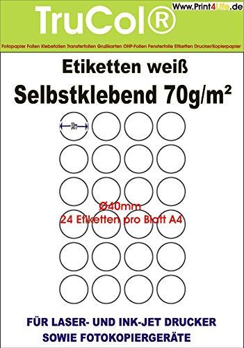 Universal-Etiketten Markierungspunkte Rund (Ø 40 mm auf Din A4 Premium Papier, Matt,) 600 Stück auf 25 Blatt weiß bedruckbar mit Tintenstrahldrucker und Laserdrucker