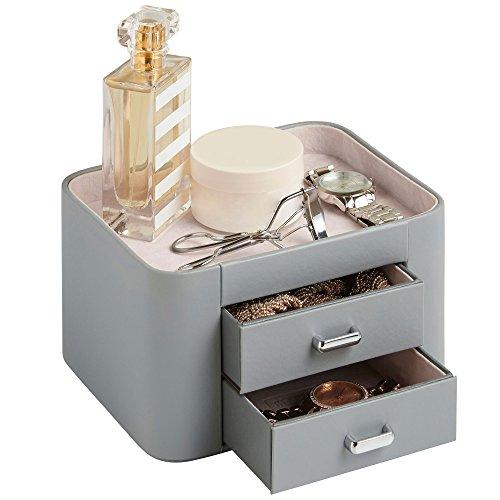 Beautify Boîte à Bijoux et Accessoires 2 tiroirs – Imitation Cuir Grise